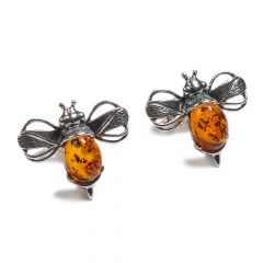 Henryka Amber and Silver Bumble Bee Stud Earrings