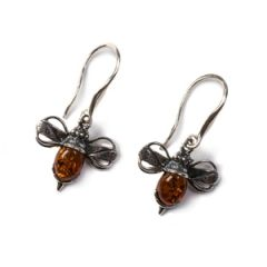 Henryka Amber and Silver Bumble Bee Hook Earrings