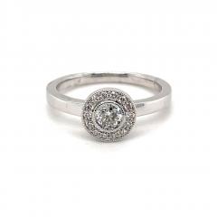 9ct White Gold Round Brilliant Cut Halo Diamond Engagement Ring