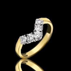 Diamond 5 Stone Wishbone Ring