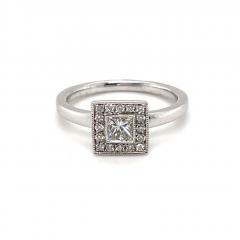 9ct White Gold Princess Cut Halo Diamond Engagement Ring