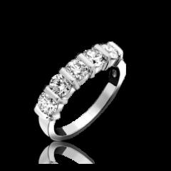 5 Stone Diamond Bar Set Ring