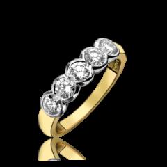 Diamond 5 Stone Rub-over  Ring