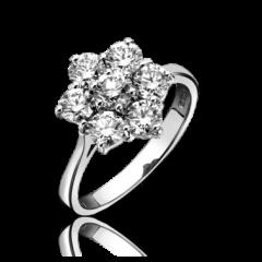 Diamond 6+1 Round Cluster Ring