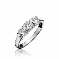 3 Stone Diamond Bar Set Ring