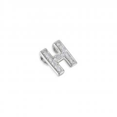 9 Carat White Gold Pave Diamond Letter H Pendant