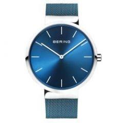 Bering Classic Unisex Blue Mesh Watch