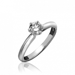Single Stone Round Brilliant Cut 6 Claw Ring