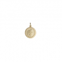 9ct yellow gold small circular St Christopher pendant
