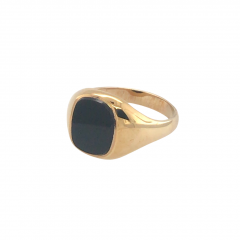 9ct Gold & Onyx Signet Ring - Size Y.5