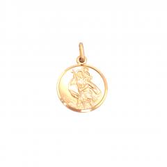 9ct Yellow Gold St Christopher Circular pendant 15x15mm