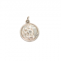 925 Sterling Silver Circular Small St Christopher Pendant 12mm