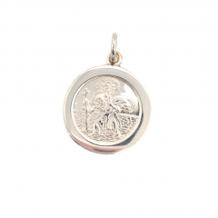 925 Sterling Silver 21mm plain round St Christopher pendant