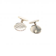925 Sterling Silver Oval Patterned & Plain Chain Cufflinks
