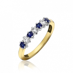 Sapphire and Diamond 7 Stone Ring