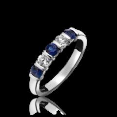 Sapphire and Diamond 5 Stone Bar Set Ring