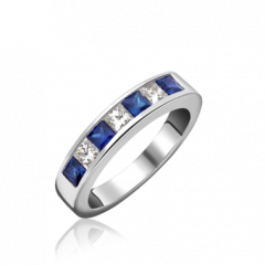 Sapphire and Diamond 7 Stone Channel Set Ring