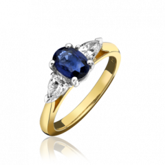 Sapphire and Pear Shaped Diamond 3 Stone Ring