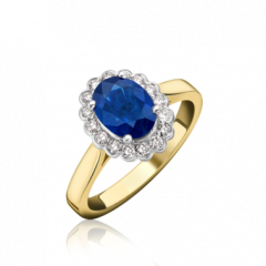 Sapphire and Diamond Cluster Rubo-over Set Ring