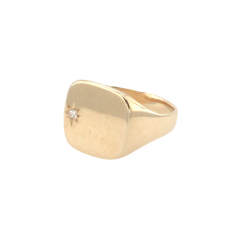 9ct Gold Oval Cushion Signet Ring with Diamond - Size U.5