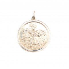 925 Sterling Silver Plain Round St Christopher 24mm
