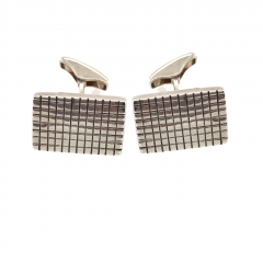 925 Sterling Silver Oblong Patterned Cufflinks