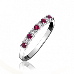 9 Stone Ruby and Diamond Ring