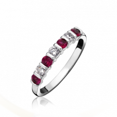 Ruby and Diamond 7 Stone Ring