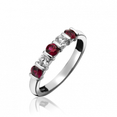 Ruby and Diamond 5 Stone Bar Set Ring