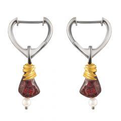 Artemisia Sterling Silver Drop Garnet Earring