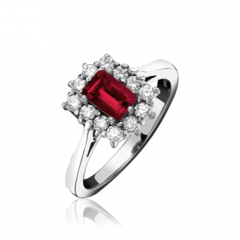 Ruby and Diamond Rectangular Cluster Ring