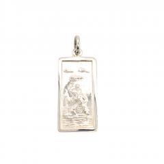 Sterling Silver Rectangular St Christopher Pendant