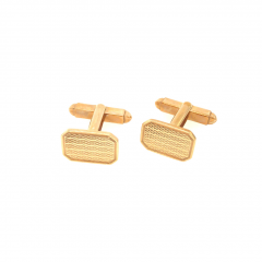 9ct Yellow Gold Rectangular Edged Engraved Cufflinks with Turn Bar