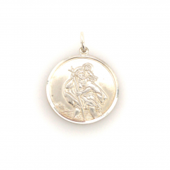 925 Sterling Silver Large Matt Double Sided St Christopher Pendant 30x30mm