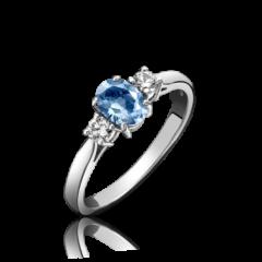 Aquamarine and Diamond 3 Stone Ring