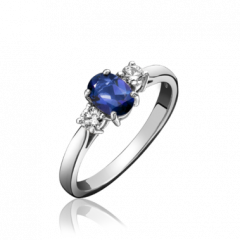 Tanzanite and Diamond 3 Stone Ring