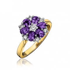 Amethyst and Diamond Flower Cluster Ring