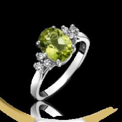 Peridot and Diamond 3 Stone Ring
