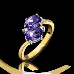 Amethyst and Diamond 4 Stone Twist Ring