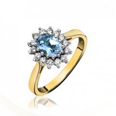 Aquamarine and Diamond Cluster Ring