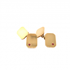 9ct Yellow Gold with Ruby Cufflinks