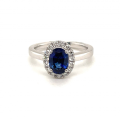 Platinum Oval Sapphire and Diamond Cluster Ring