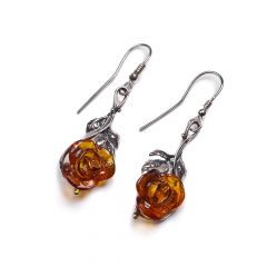 Henryka Amber and Silver Rose Hook Earrings