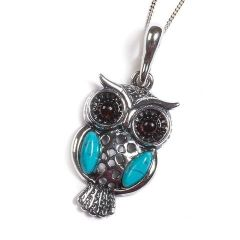 Henryka Amber, Turquoise and Silver Wise Owl Necklace