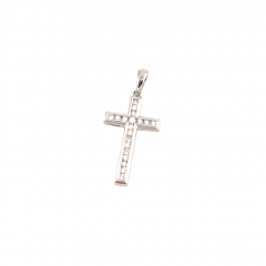 9ct White Gold Cross with 0.15ct Channel Set Diamonds