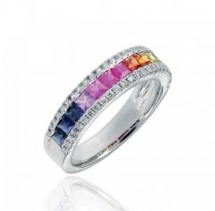 Multi Coloured Rainbow Effect Sapphire Ring