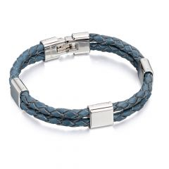 Stainless Steel and Blue Leather Double Bracelet
