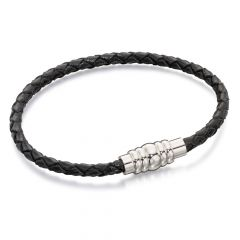 Narrow Black Leather Bracelet