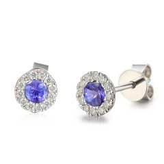 Tanzanite & Diamond Cluster Earrings