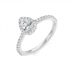 Pear Shaped Diamond Halo Claw Set Platinum Engagement Ring with Diamond Set Shoulders